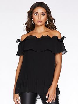 quiz-chiffon-pleated-double-layer-bardot-top-black