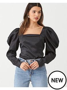 v-by-very-square-neck-jacquard-blouse-black