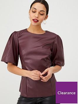 v-by-very-pu-blouson-sleeve-blouse-burgundy