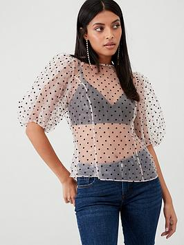 V by Very V By Very Spot Sheer Blouson Sleeve Top - Blush Picture