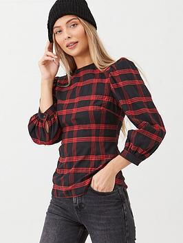 v-by-very-checked-puff-sleeve-blouse-red-check