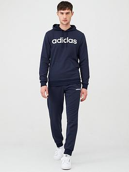 Adidas   Linear Logo Ovehead Hooded Tracksuit - Ink