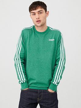 Adidas   3 Stripe Linear Crew Neck Sweatshirt - Green
