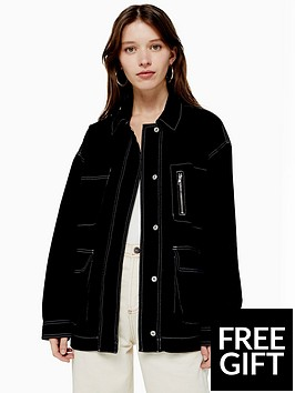 topshop-topshop-contrast-stitch-utility-jacket-black