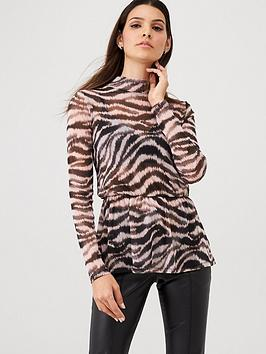 V by Very V By Very Mesh Animal High Neck Peplum Top - Animal Picture