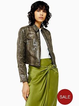 topshop-snake-print-cropped-jacket-green