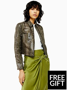 topshop-topshop-snake-print-cropped-jacket-green