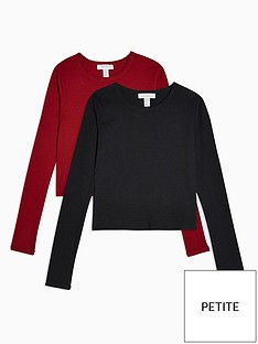 topshop-topshop-petite-2-pack-long-sleeve-scalloped-t-shirts-redblack