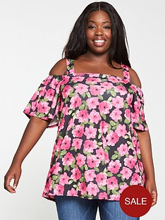 v-by-very-curve-cold-shoulder-top--nbsppink-floralnbsp