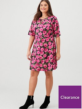 v-by-very-curve-floral-keyhole-dress-pink
