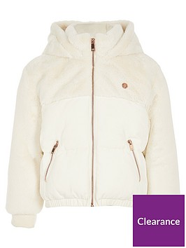 river-island-girls-faux-fur-mix-padded-jacket-cream