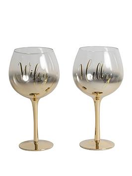 Very  Always &Amp; Forever Set Of 2 Gold Ombre Gin Glasses Hubby/Wifey