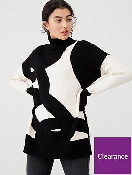 wallis-chain-intarsia-roll-neck-jumper-monochrome