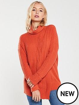 wallis-cable-knit-wrap-jumper-orange