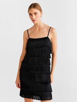 Mango Mango Fringed Dress - Black Picture