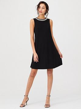 Wallis Wallis Embellished Trim Swing Dress - Black Picture