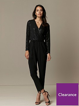 wallis-petite-sparkle-jumpsuit-black