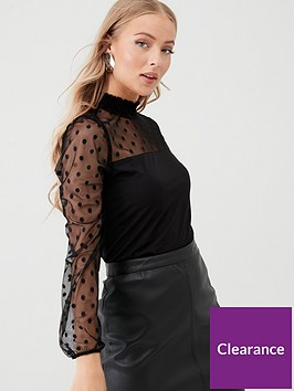 wallis-dobby-spot-high-neck-blouse-black