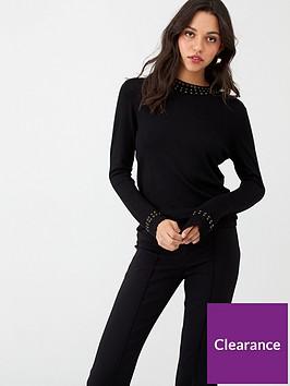 wallis-gem-high-neck-stud-jumper-black