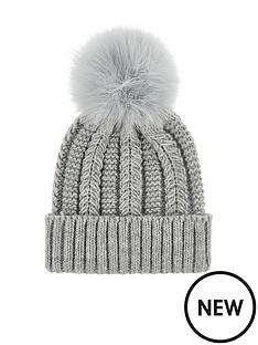 accessorize-luxe-pom-beanie-hat-grey