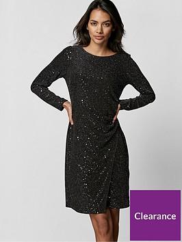 wallis-petite-cosmic-sequin-ruche-side-dress-black-silver