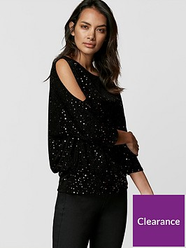 wallis-petite-star-dust-sequin-banded-top-rose-gold