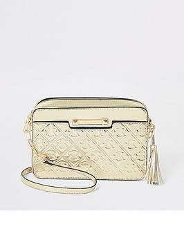 river-island-river-island-monogram-boxy-cross-body-bag-gold