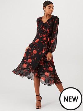 wallis-floral-wrap-midi-dress-red
