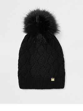 river-island-river-island-faux-fur-pom-beanie-hat-black