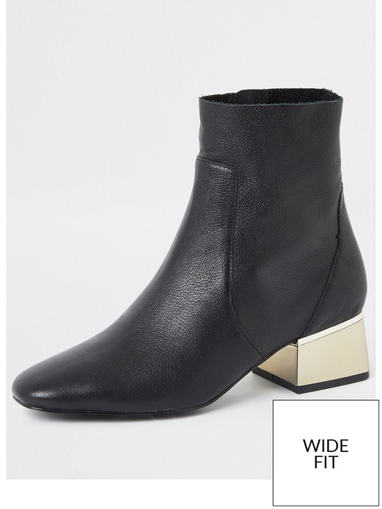 River Island Wide Fit Heel Detail Leather Ankle Boot   Black by River Island