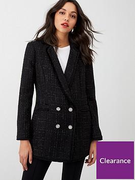 wallis-frayed-hem-boucle-blazer-black