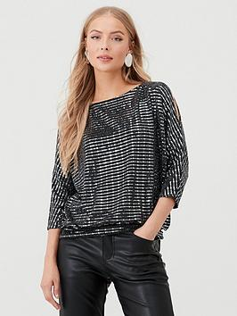 Wallis Wallis Shimmer Sequin Slash Neck Picture