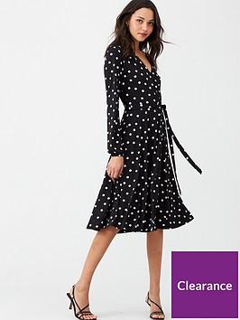 wallis-polka-dot-wrap-dress-black