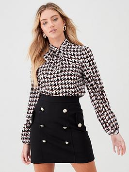 river-island-dogtooth-tie-neck-blouse