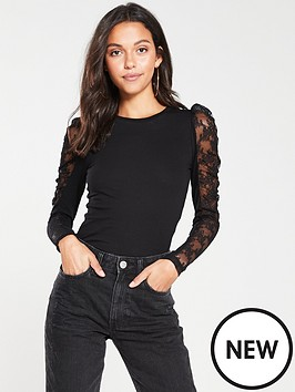river-island-lace-sleeve-top-black