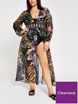 ri-plus-ri-plus-printed-embellished-waist-kaftan-black