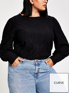 ri-plus-broderie-puff-sleeve-top-black