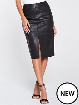 river-island-river-island-leather-split-front-pencil-skirt-black