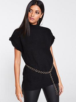 river-island-river-island-chain-belted-knitted-top-black