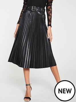 river-island-river-island-faux-leather-pleated-belt-midi-skirt-black