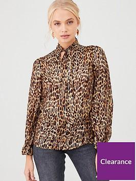 river-island-river-island-embellished-leopard-print-tie-neck-blouse-brown
