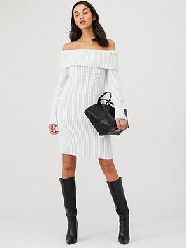 v-by-very-chunky-off-the-shoulder-dress-grey