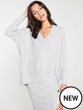 river-island-v-neck-knitted-jumper-grey