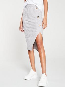 river-island-river-island-knitted-split-side-midi-skirt--grey