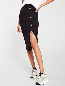 river-island-river-island-knitted-split-side-midi-skirt--black