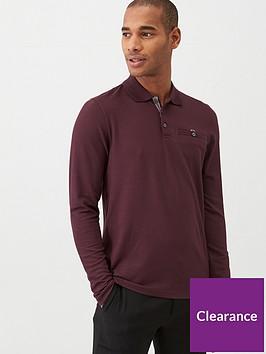 ted-baker-recline-long-sleeved-polo-shirt-burgundy