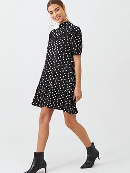 v-by-very-lace-insert-printed-curved-hem-dress-spot