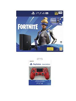 playstation-4-fortnite-neo-versa-ps4-pro-bundle-with-additional-magma-red-dualshock-controller
