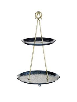 kitchencraft-artes-2-tiered-cupcake-stand-and-serving-platter-galvanised-steel-brass-and-metallic-blue-with-gift-box