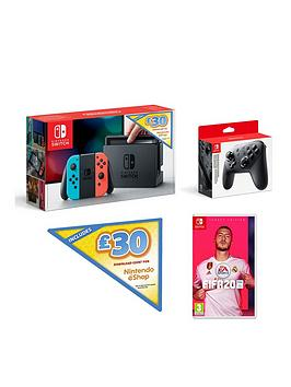 nintendo-switch-nintendo-switch-neon-console-with-30-eshop-voucher-code-and-fifa-20-legacy-edition-and-official-pro-controller